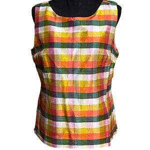 Talbots Madras Plaid 100% Silk Sleeveless Top 12